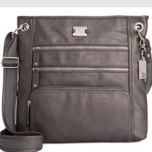 Style & Co Nina Crossbody Gray Faux Leather